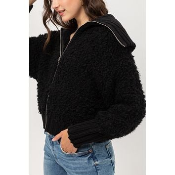 Long Sleeve Full Zip Up Teddy Yarn Knit Sweater Jacket