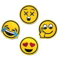 Funny Cute Emoji Patch Smile Face Patch Lot DIY Embroidered Appliques Kids Iron On Cartoon Cute Patches For Clothes Stickers