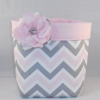 Pink, Gray And White Chevron Fabric Basket With Pink Liner and Detachable Fabric Flower Pin For Storage Or Gift Giving