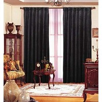 "Black Velvet Window Curtain Drape 84"" By Maifa Textiles"