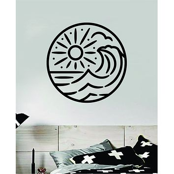 Surf Beach Circle V6 Decal Sticker Wall Vinyl Art Home Room Decor Bedroom Sports Quote Surfing Ocean Waves Good Vibes