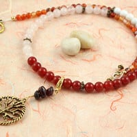 Pregnancy Tracking Necklace - Pick your charm - Fiery Flowers - Red carnelian, rose quartz, snow quartz, agate, garnet