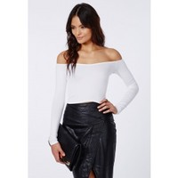 Missguided - Carrisa Long Sleeve Jersey Bardot Crop Top White