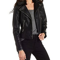 FAUX FUR & LEATHER MOTO JACKET