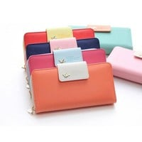 Hit Color Leather Women Wallet Fashion Long Clutch Purse = 1958702276