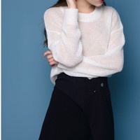 White Oversized Knitted Soft Sweater