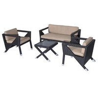 Outsunny 4 Pc Outdoor Rattan Patio Set – Brown and Beige