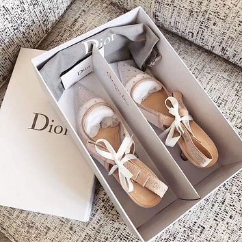 Dior Low-heeled pointed sandals with mesh corrugated point shoes
