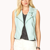 Studded Faux Leather Moto Vest