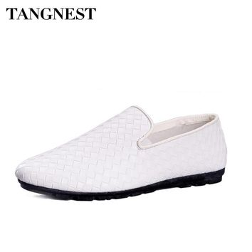 Tangnest 2018 Men Woven Shoes Spring Summer British Style Outdoor Casual Shoes Breathable Loafers Comfort Flats XMR2851