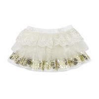 Kardashian Kids Girls Mesh and Tulle Tiered Skirt with Attached Diaper Cover