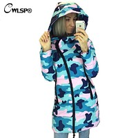 CWLSP Winter Camouflage Star Printed Warm Hooded Coat Womens Fashion Oblique Zipper Cotton Jacket Casual Padded Overcoat QZ1790