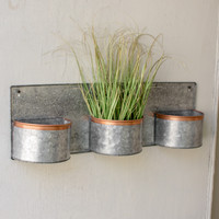 3 Zinc Horizontal Wall Planters with Copper Rim