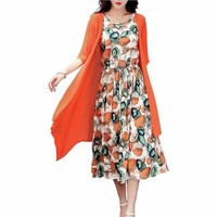 Cotton Line dress Print Round Neck Plus Size  Summer Casual Loose Two Piece Set Midi Dress