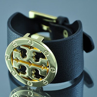 Tory Burch inspired double T bracelet  Leather and by EsmerJewelry