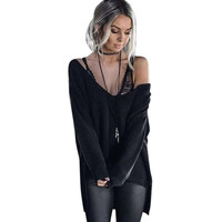 Womens Sexy Sweater Off Shoulder Long Sleeve