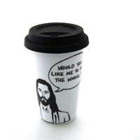 Travel Mug Jesus Take The Wheel Eco Friendly Double Walled Porcelain with Siicon Lid