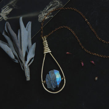 lumo • rainbow moonstone necklace - blue moonstone pendant - witch jewelry - goddess necklace - teardrop necklace - witchy jewelry