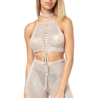 Metallic Fishnet Halter Neck Crop Top