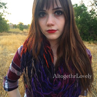 Crown Jewels Scarf, Chunky Purple Olive Orange Red Gold Blue Plum Burgundy Brown Knit Infinity Scarf