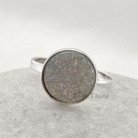 White Shimmer Druzy Round 11mm Ring - Bezel Jewelry -  Sterling Silver Ring - Gemstone Ring - #2905
