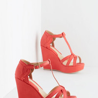 ModCloth Platforms and Functions Wedge in Coral