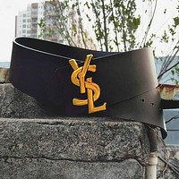 YSL Popular Women Personality Smooth Buckle Versatile Leather Belt