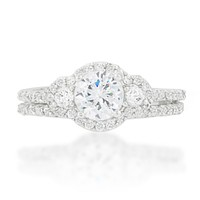Naarah Three Stone Halo Engagement and Wedding Ring Set | 2.5ct | Cubic Zirconia | Silver