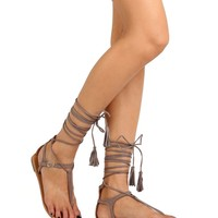 WRAPPED UP IN YOU SANDALS IN TAUPE