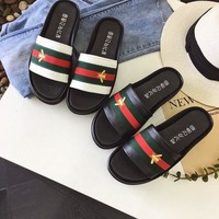 Beach Casual Couple Leather Summer Slippers [11884974675]
