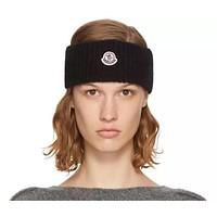 Moncler 2019 new faux-wool wool-blend hair band Black