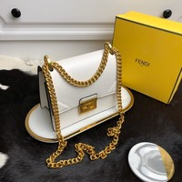 Kuyou Gb99822 Fendi 01181 Kan U Envelope Chain Flap Bag In White Smooth Leather 19*9*15cm