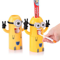 Home Bathroom Products Cute Design Set Cartoon yellow  Minions Toothbrush Holder Automatic Toothpaste Dispenser Toothpaste