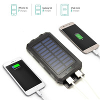 Solar USB Power Bank Charging Water Proof  IP68 Armor LED Light Compass Field Camping Equipment 8000 mAh 2 USB Output 5V 2A Hot