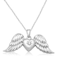 """Sterling Silver Diamond-Accented Angel Wings Pendant Necklace, 18"""""""