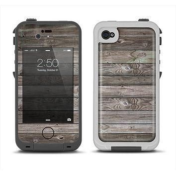 The Rough Wooden Planks V4 Apple iPhone 4-4s LifeProof Fre Case Skin Set