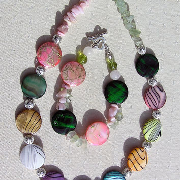 """Necklace & Bracelet Set - Mother of Pearl with Prehnite and Pink Opal Gemstones - """"Rainbow Fantasia"""""""