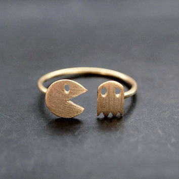 PacMan ring,adjustable PacMan rings,character rings,game rings,kid rings,childhood rings,fashion rings,chidren rings,cute rings,daily rings