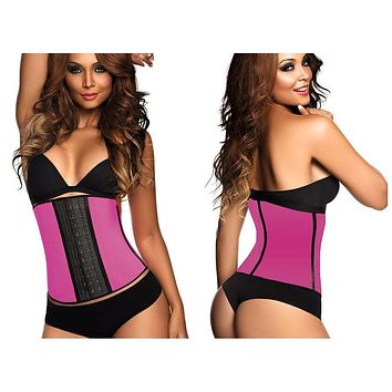 Ann Chery 2023 Latex Sport Workout Waist Cincher Corset Color Fuchsia