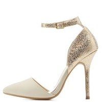 Nude Combo Marbled Metallic Ankle Strap Heels by Charlotte Russe