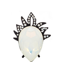 Bold Pear Stone Ring with Black Crown