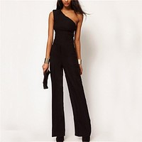 One Shoulder Womens Rompers Jumpsuit