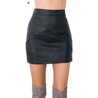 Black Asymmetrical PU Leather Skirt