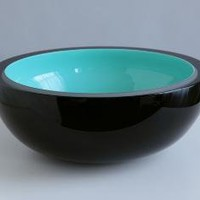 Large Turquoise Blue Black and White Blown Glass by corporanglass