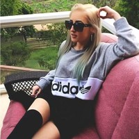 Adidas Fashion Print Long Sleeve Sport Top Sweater Pullover