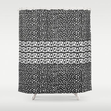 Aztec Black and White Shower Curtain  – Minimal Tribal Design Great for Adult and Kids Bathroom
