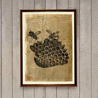 Bees print Wildlife decor Honey comb poster Dictionary page