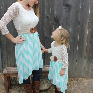 Sweet Sadie Just like Mommy Dress in Ivory, and Mint Sizes 6 Months to Women's 2XL
