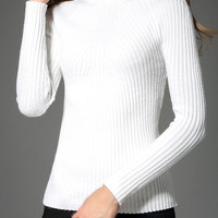 Mock Neck Slim White Knitwear