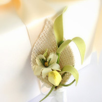 Garden Grooms Boutonniere, Burlap, Yellow , Green, Country,  Country Wedding,  Spring, Summer, Rustic